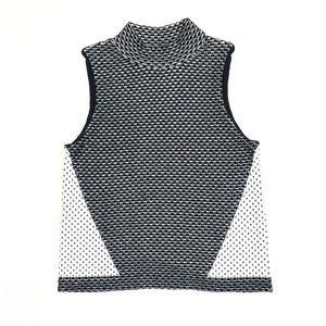 MOTH Anthropologie Black White Mock Neck Knit Top